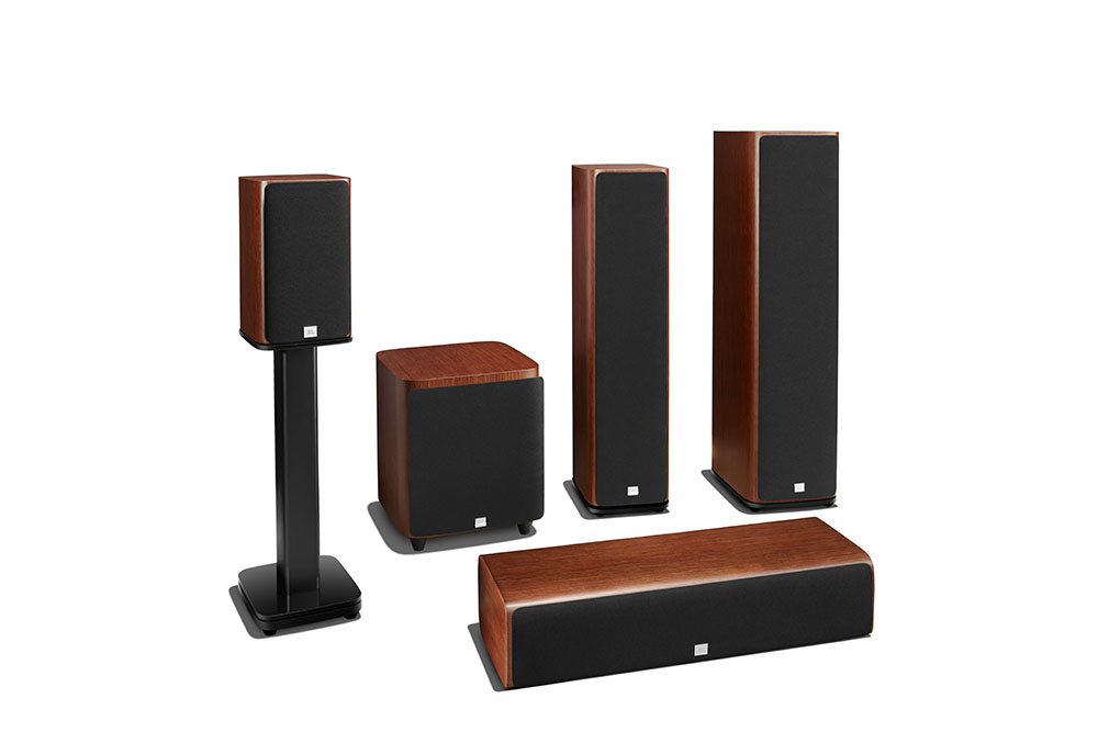 JBL HDI Series group shot walnut