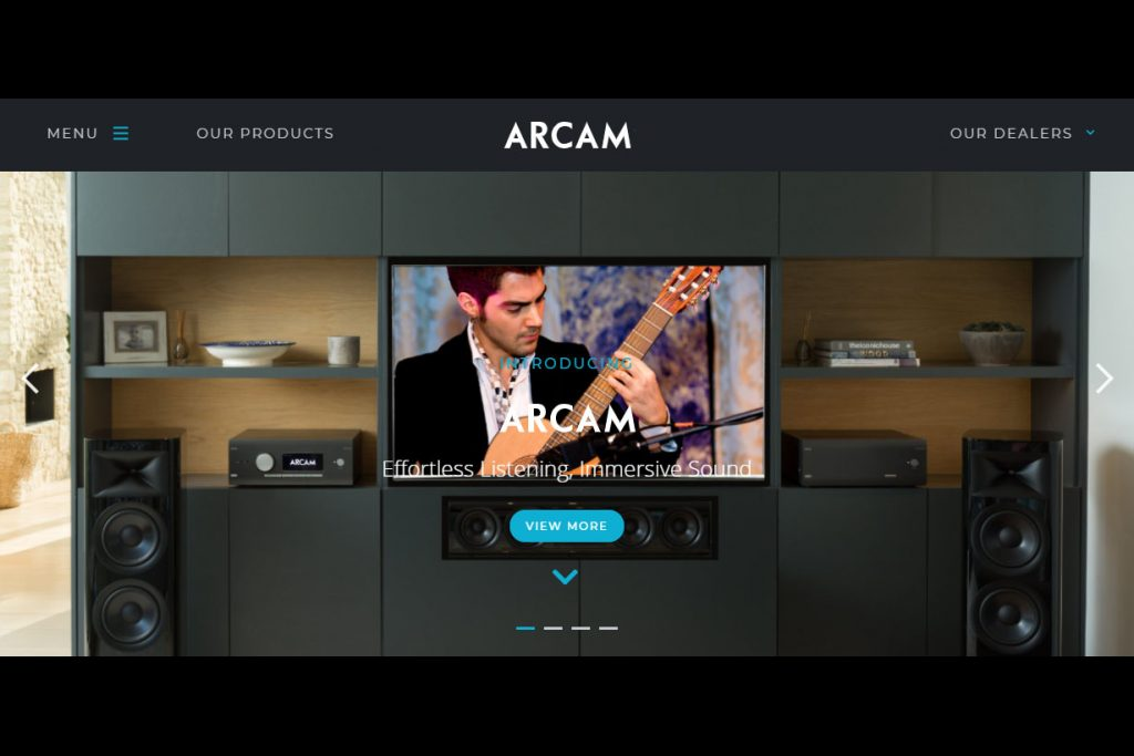 New Arcam website home page