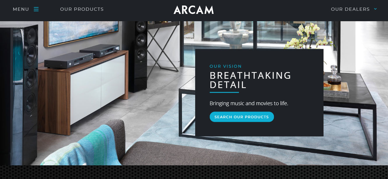 Arcam website home page 2