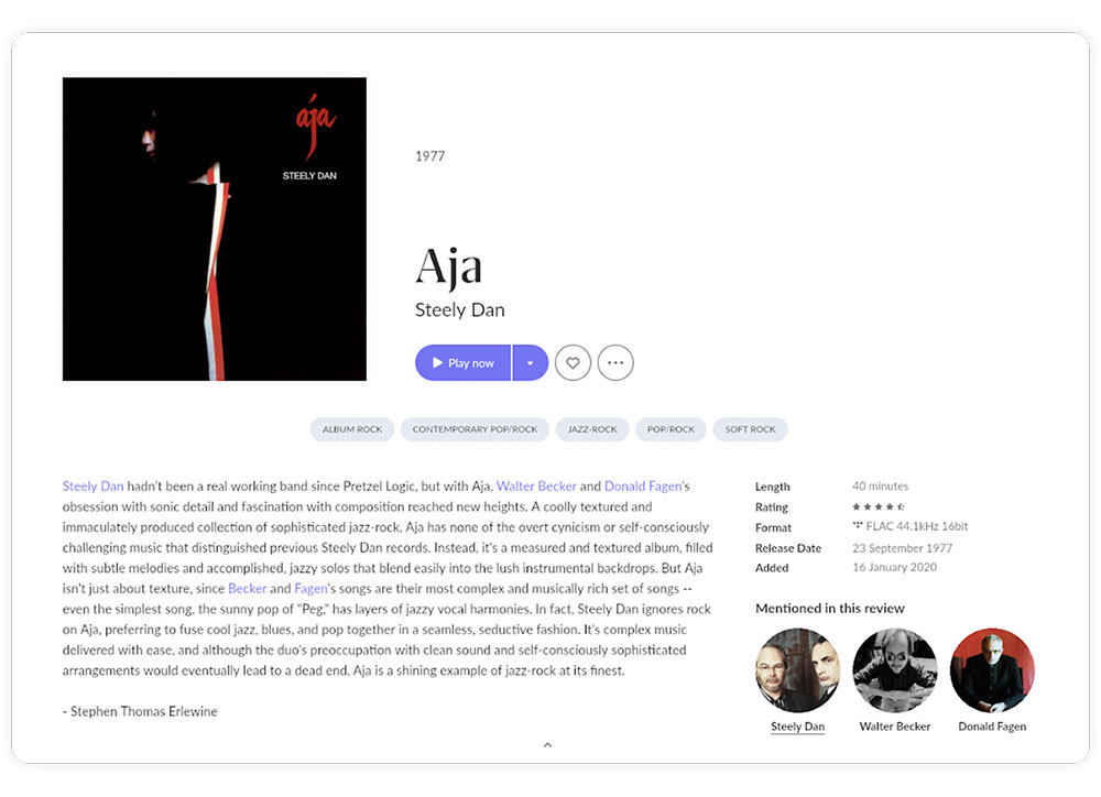 Artist album page